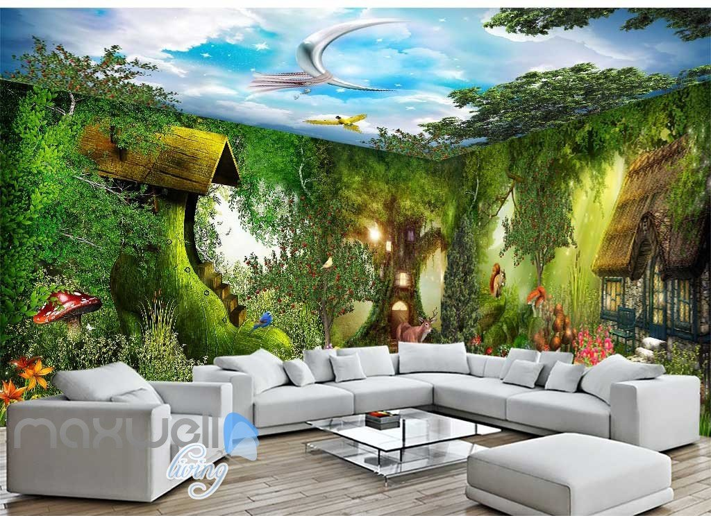 3d Fantacy Wonderland Tree House Wall Murals Wallpaper Decals Art Print Idcqw 000317 In 2020 Wall Murals Custom Photo Wallpaper House Wall