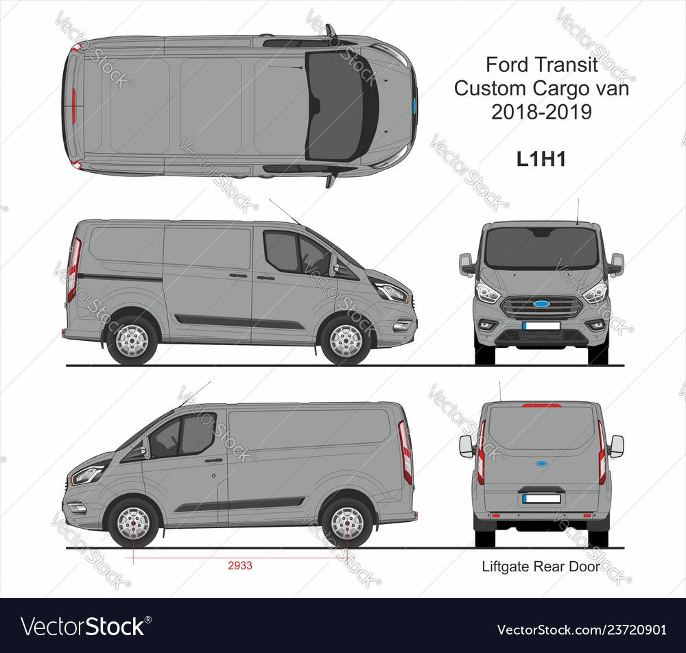 Ford Transit Custom Cargo Van L1h1 2018 2019 Vector Image On Ford Transit Transit Custom Custom Vans