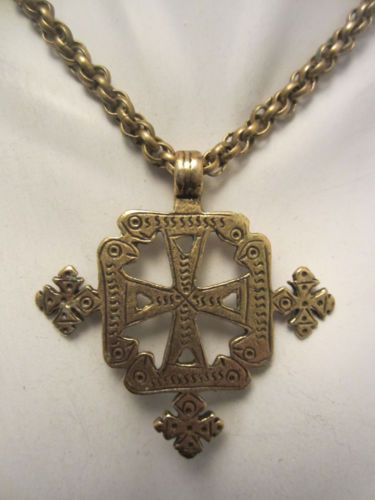 "Antique Revival Vtg 24"" Brass Necklace 2-1/4"" Celtic Cross Pendant A7"