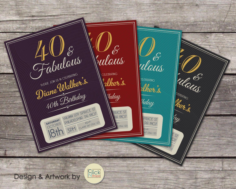 30th 40th 50th 60th 70th 80th Birthday Invitation // Fabulous Adult ...