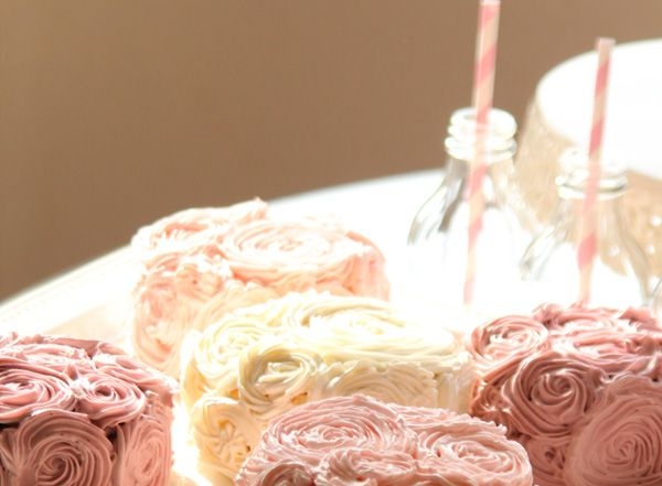Princess Party at Girl. Inspired.  gorgeous rose cakes!