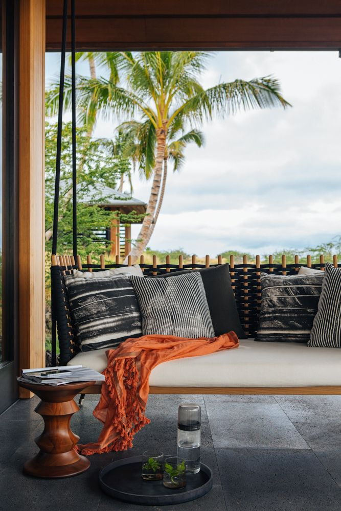 Kona Coast Retreat | Interior Design   Hawaii   Outdoor   Swing   Bench # NICOLEHOLLIS