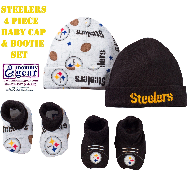 Adorable Newborn Steelers Baby Cap & Bootie Set 4 Piece Set has mix