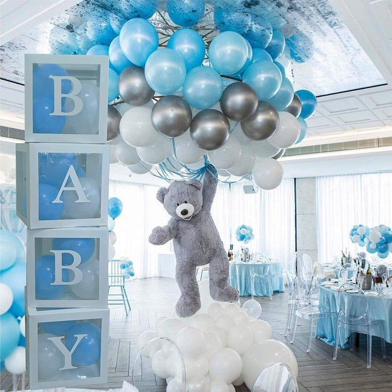 Baby Shower Boxes Transparent Balloon Boxes, Baby Shower Decorations Balloon Clear Box|Customizable letters! Party supplies,Photo background