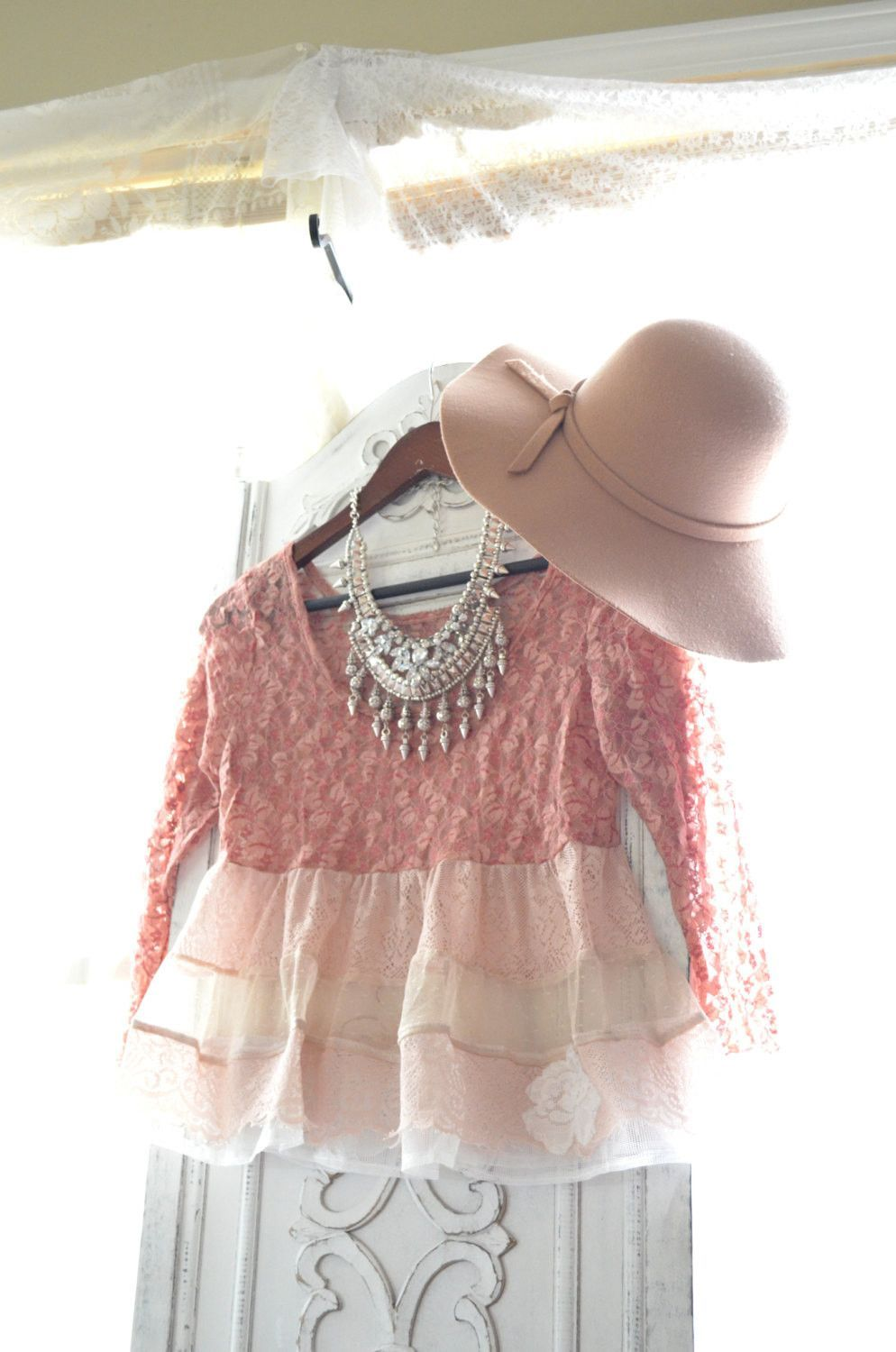 Romantic lace crop top, Summer boho chic clothing, Bohemian gypsy lace shirt, Urban street chic pink top, Shabby, True rebel clothing Sm med