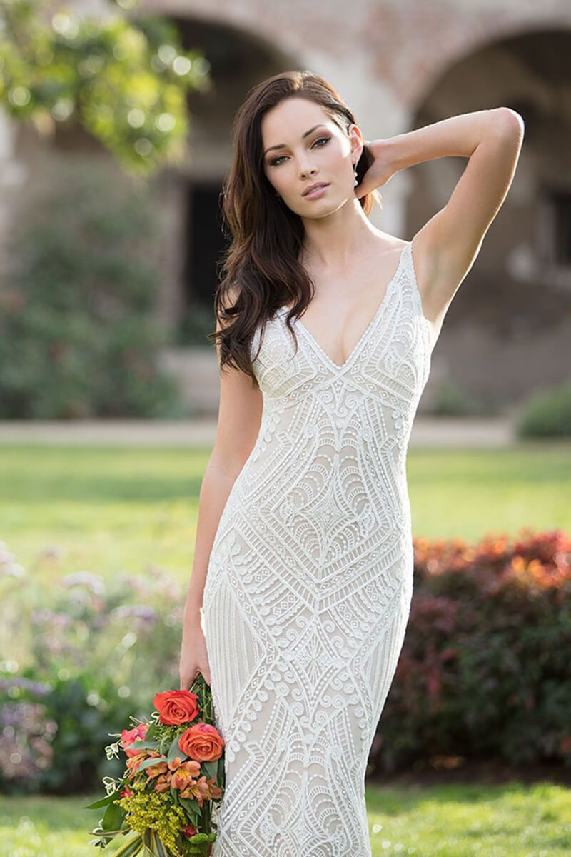 Lace vneck mermaid bridal dress mermaid dresses pinterest