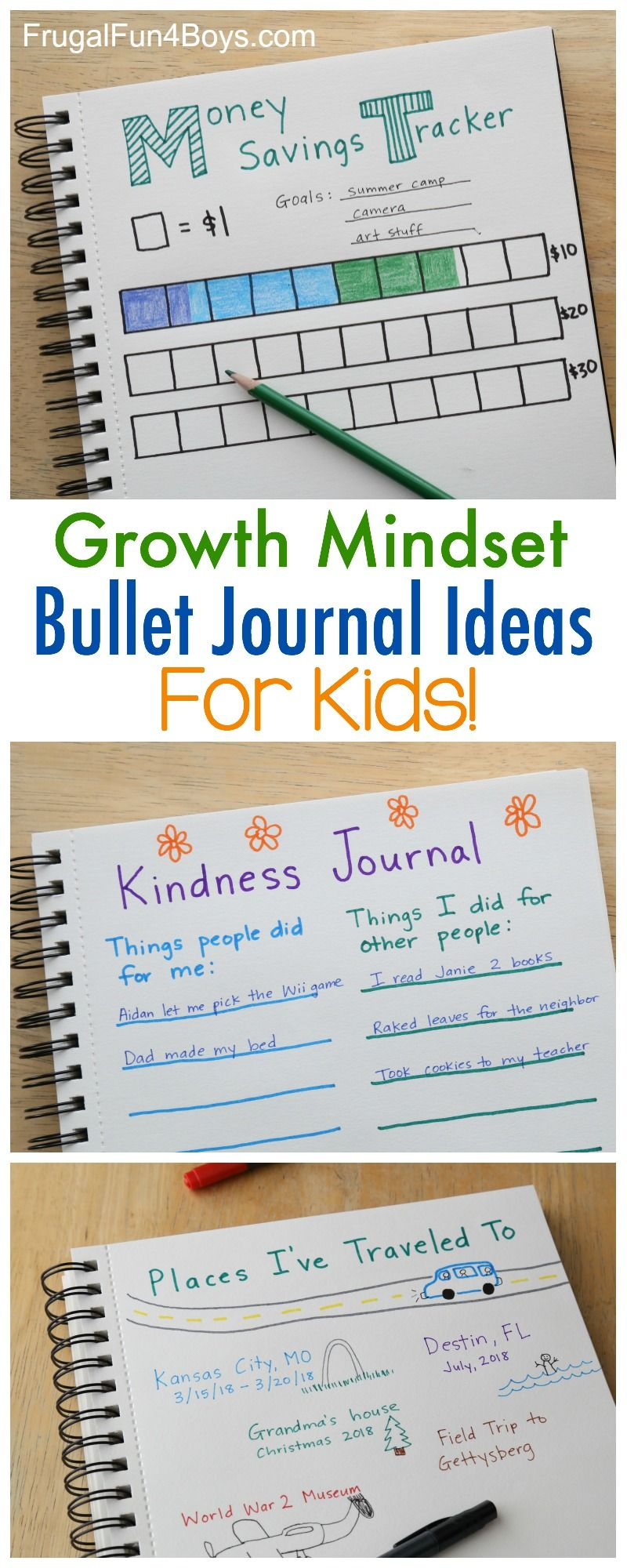Growth Mindset Bullet Journal Ideas for Kids - Set goals, record progress,  journal new experiences, and more!