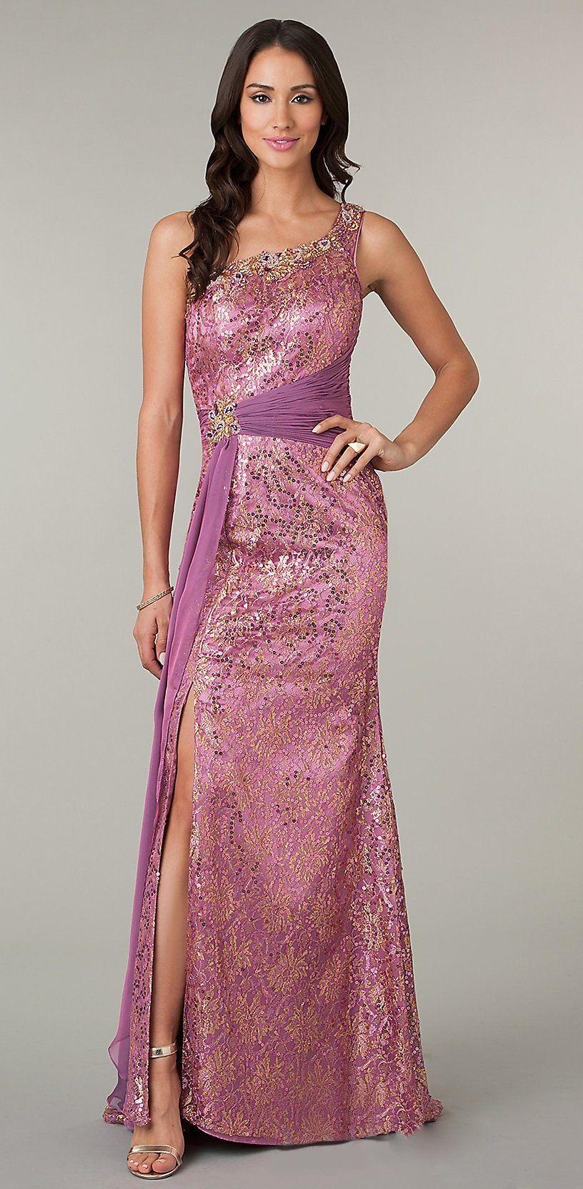 Long mermaid one shoulder dusty rose sequins prom dress front slit
