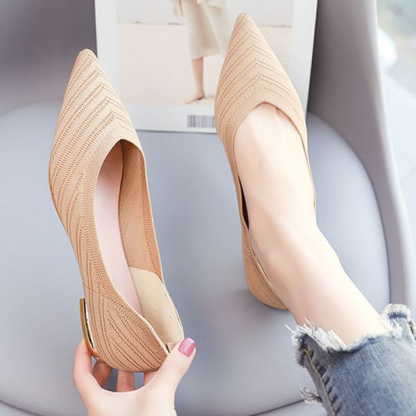 Women Beige Pointed Toe Flat Women Beige Pointed T