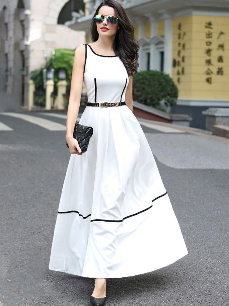Chic Solid Color Sleeveless Maxi Dress Long Dress Fashion Indian Fashion Dresses Designer White Dresses [ 1200 x 900 Pixel ]