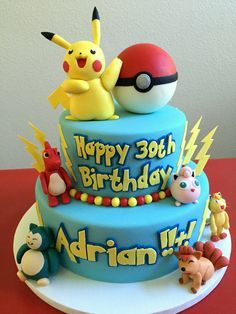 Pokemon Pikachu birthday cake All made with Cake Couture Fondant