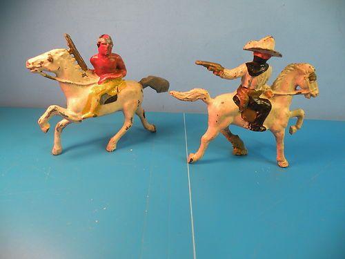 Barclay Vtg Indian Chief Warrior Red Cloud Masked Cowboy Lead 2PCD7 | eBay