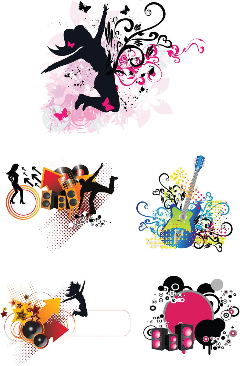 Abstract music templates vector abstract free collage