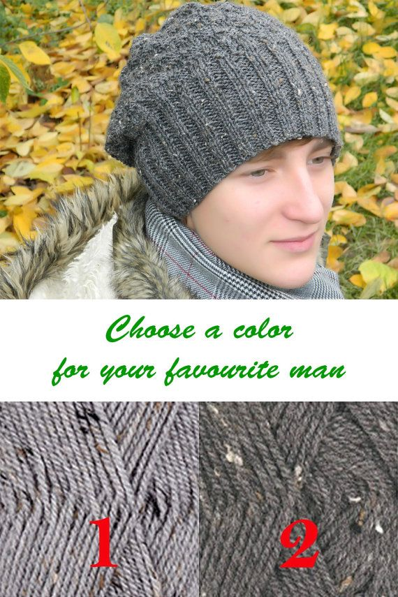 5a2d86e1441 Mens Knitted beanie Men Slouchy hat Gift for husband Gift for men Gift for  him Winter wool hat
