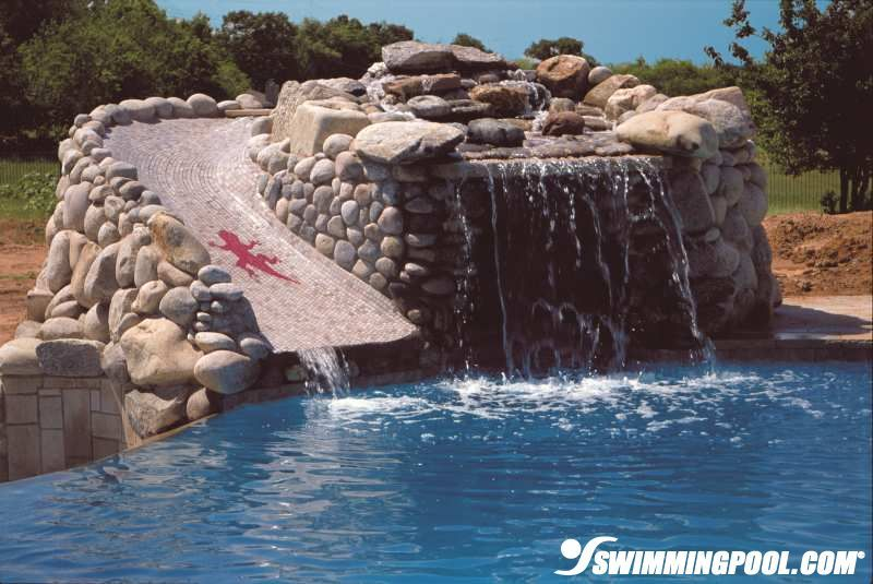 Mosaic Pool Slide And Rock Waterfall
