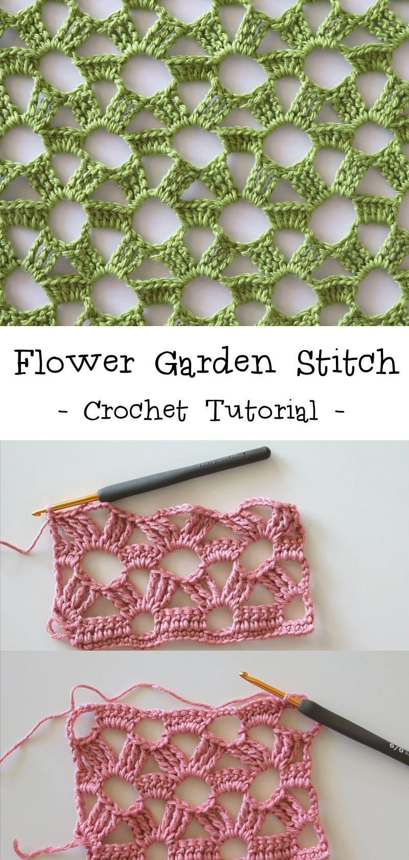 Flower Garden Stitch Crochet Tutorial #crochettutorial