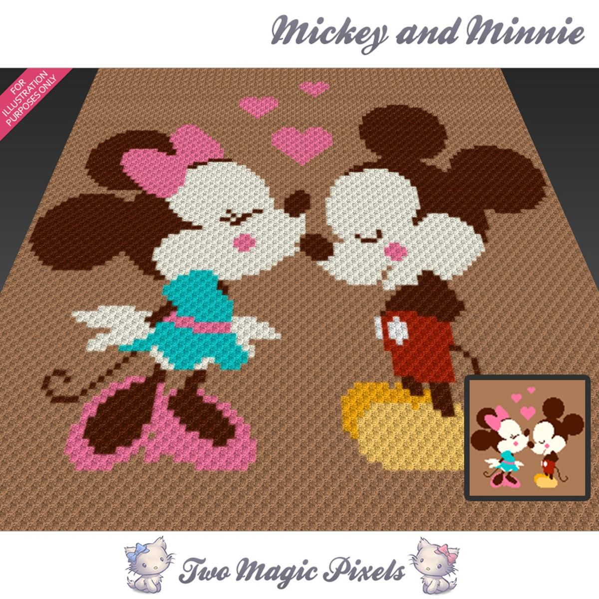 Mickey and Minnie C2C Crochet Graph | Pinterest | Decken, Häkeln und ...