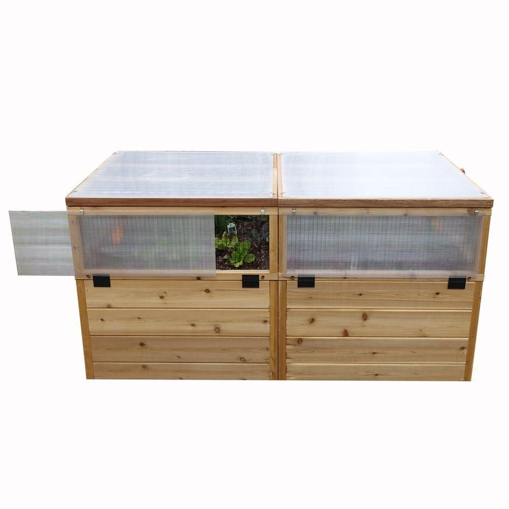 6 ft. x 3 ft. Raised Garden Bed with Greenhouse Kit, Natural Wood