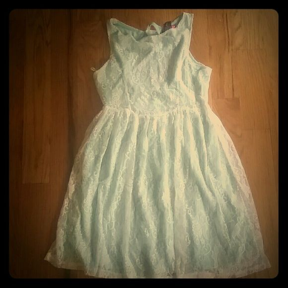 White Lace Overlay Dress White Lace over Mint Green Dress Say What (Macys) Dresses