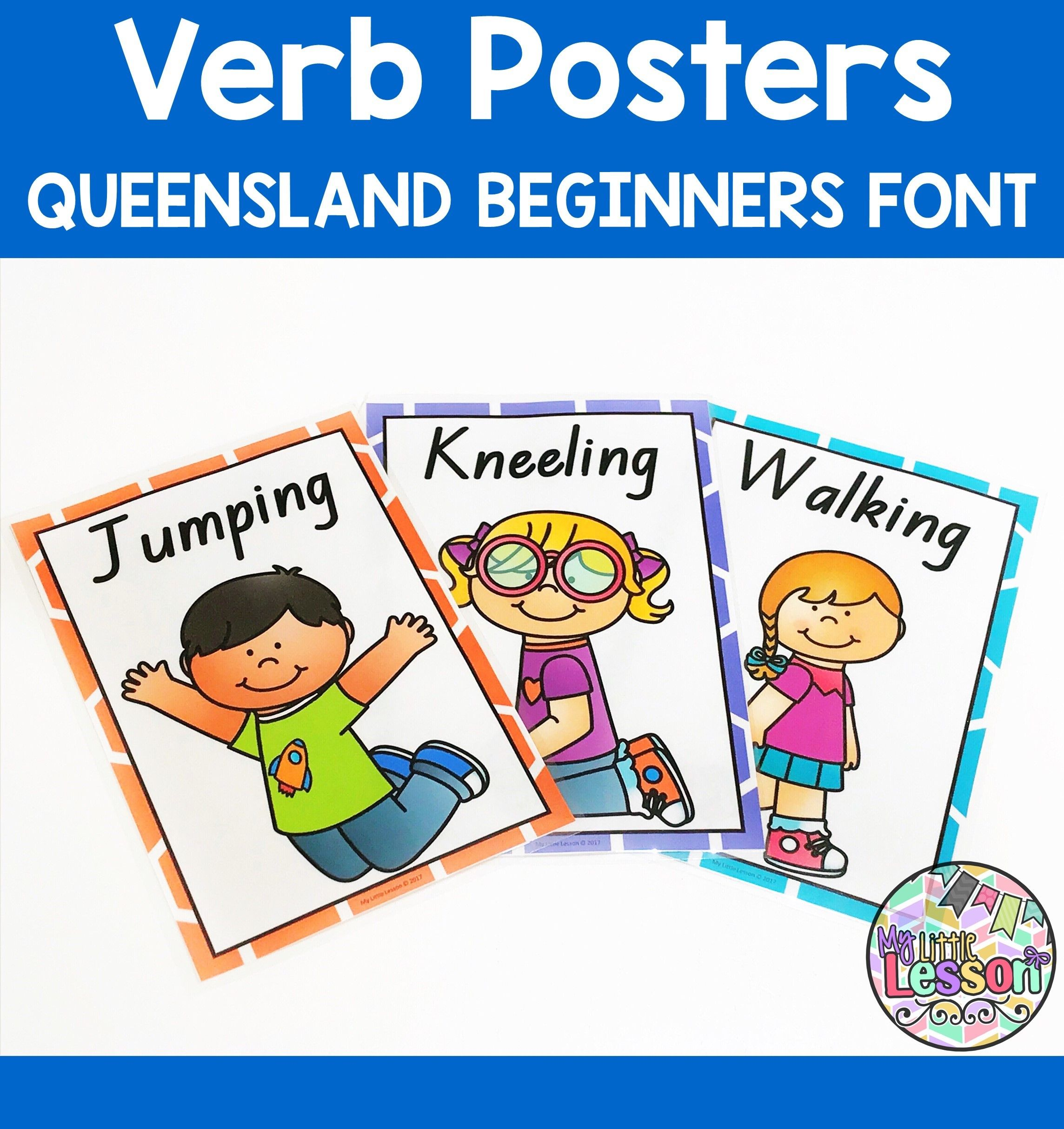 These Verb Posters Have Been Created In The Queensland Beginners Font It Includes Ten Bright And Col Verbs Poster Parts Of Speech Activities Wonder Activities [ 2428 x 2288 Pixel ]