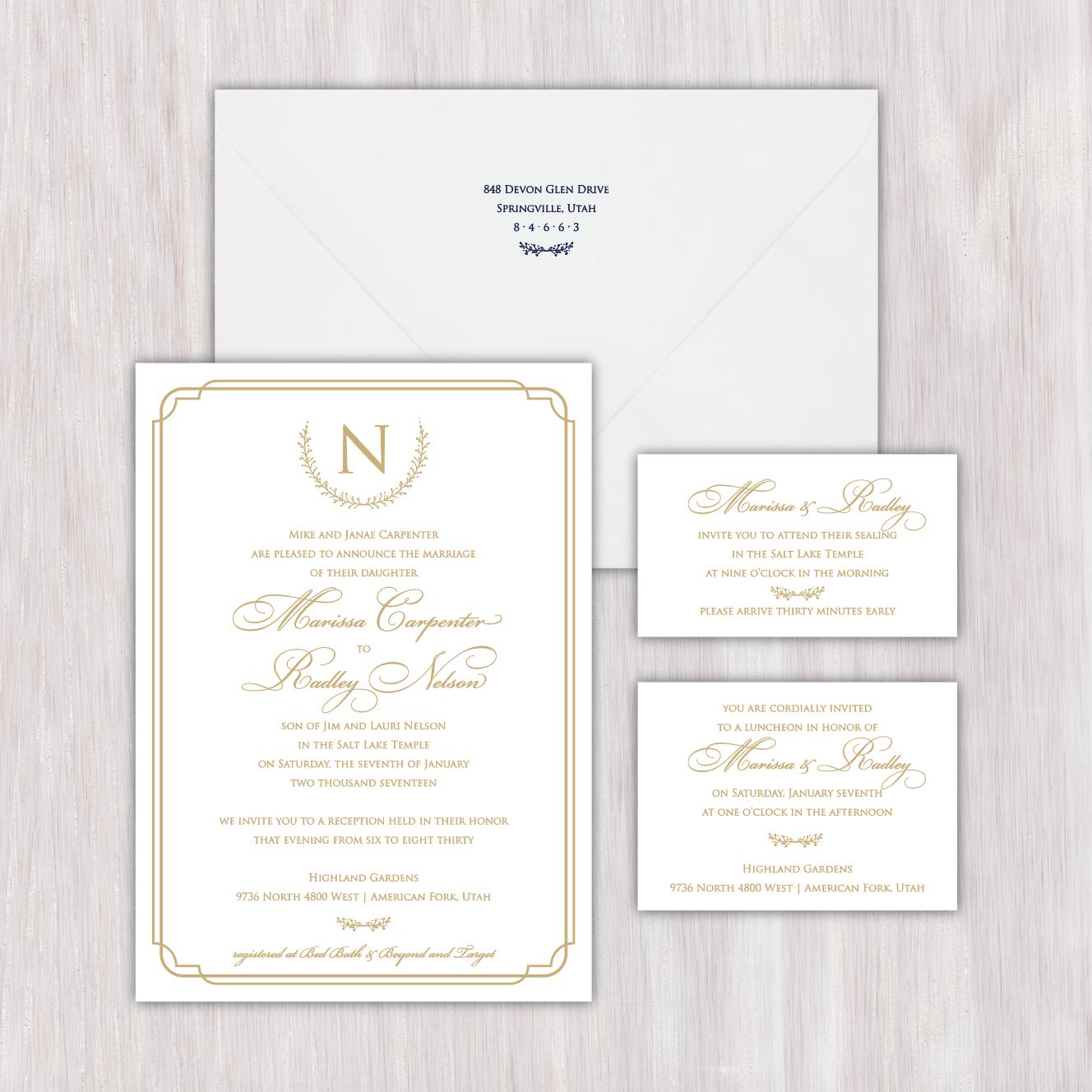 Simple, elegant, classy, monogrammed, one-color, gold, embellished ...
