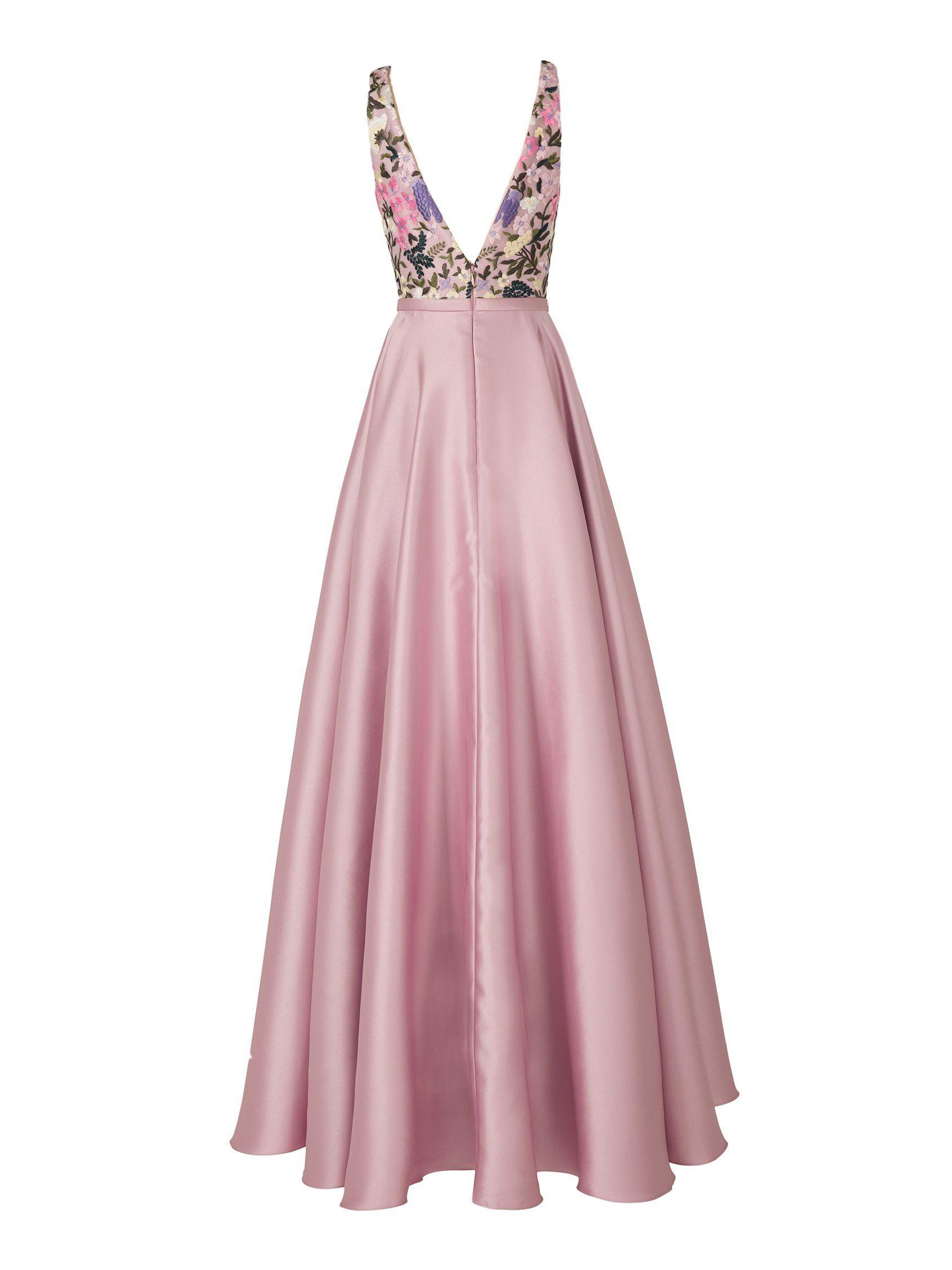 Comprar vestido de fiesta malva con cuerpo estampado | Gema ...