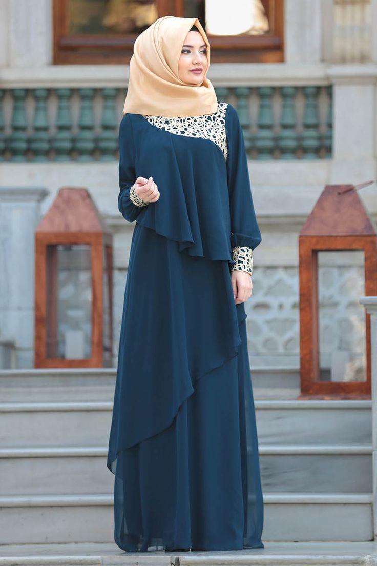 2018 Yeni Sezon Abiye Koleksiyonu Neva Style Dantel Detayli Petrol Mavisi Tesettur Abiye Elbise 25612pm Er Ali Pint Pic Model Pakaian Hijab Model Baju Wanita Model Pakaian