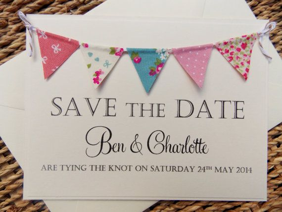 Save The Date Fabric Bunting Wedding Invitation Country Fete Rustic