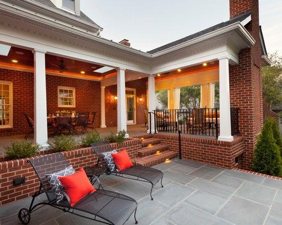 Back Porch Design Ideas Pictures Remodel And Decor Traditional Exterior Back Porch Designs Brick Patios