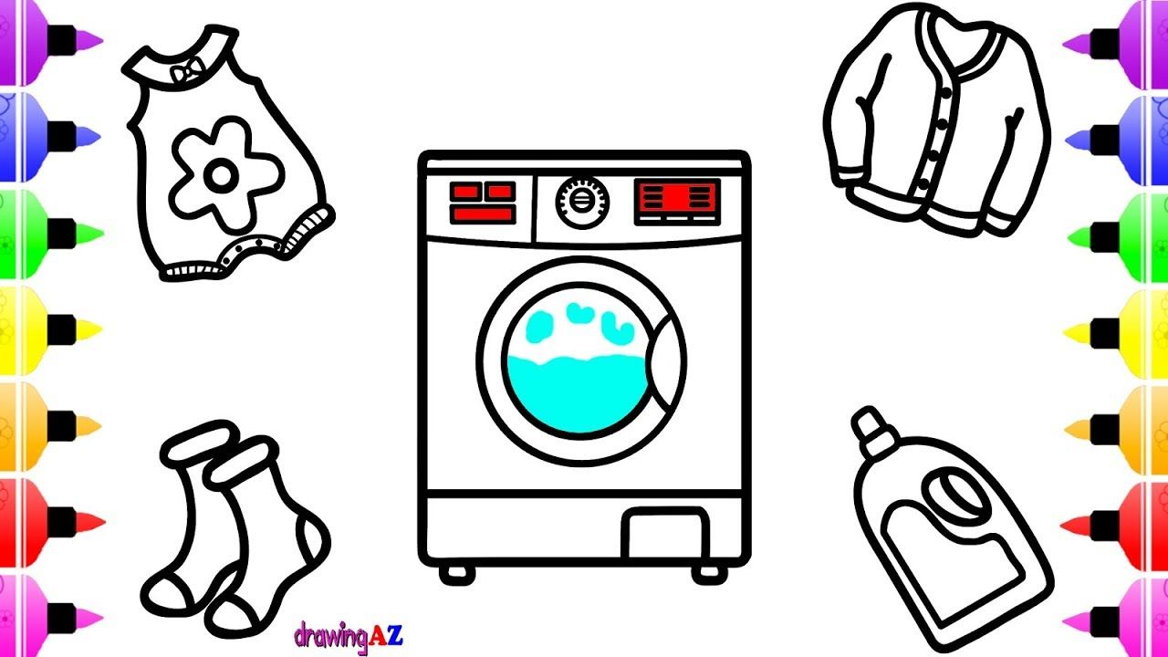 how to draw electrolux washing machine for kids clothes socks soap jacket coloring page