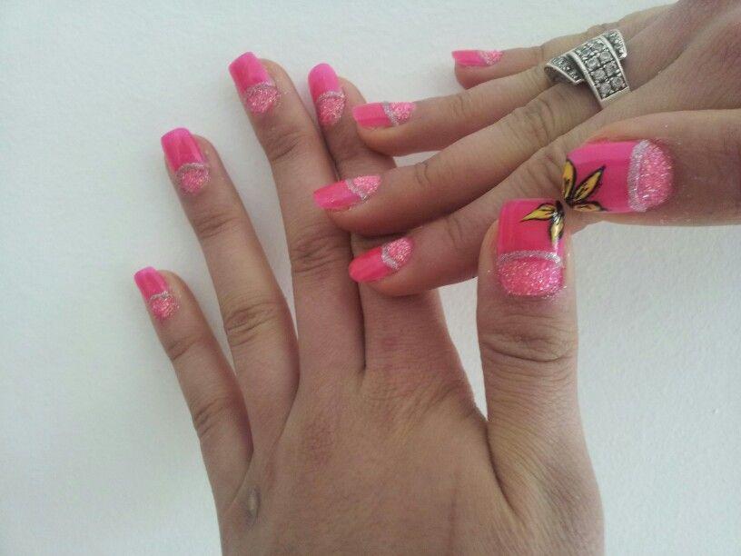 #nail art#pink#summer#yellow flower