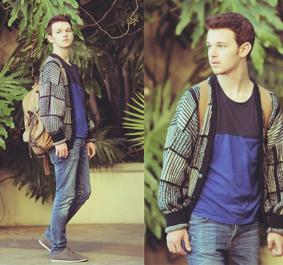 H Colorblock Tee, Urban Outfitters Baggy Cardigan, Levi's Blue Skinnies, H Backpack, Zara Grey Suede Oxfords