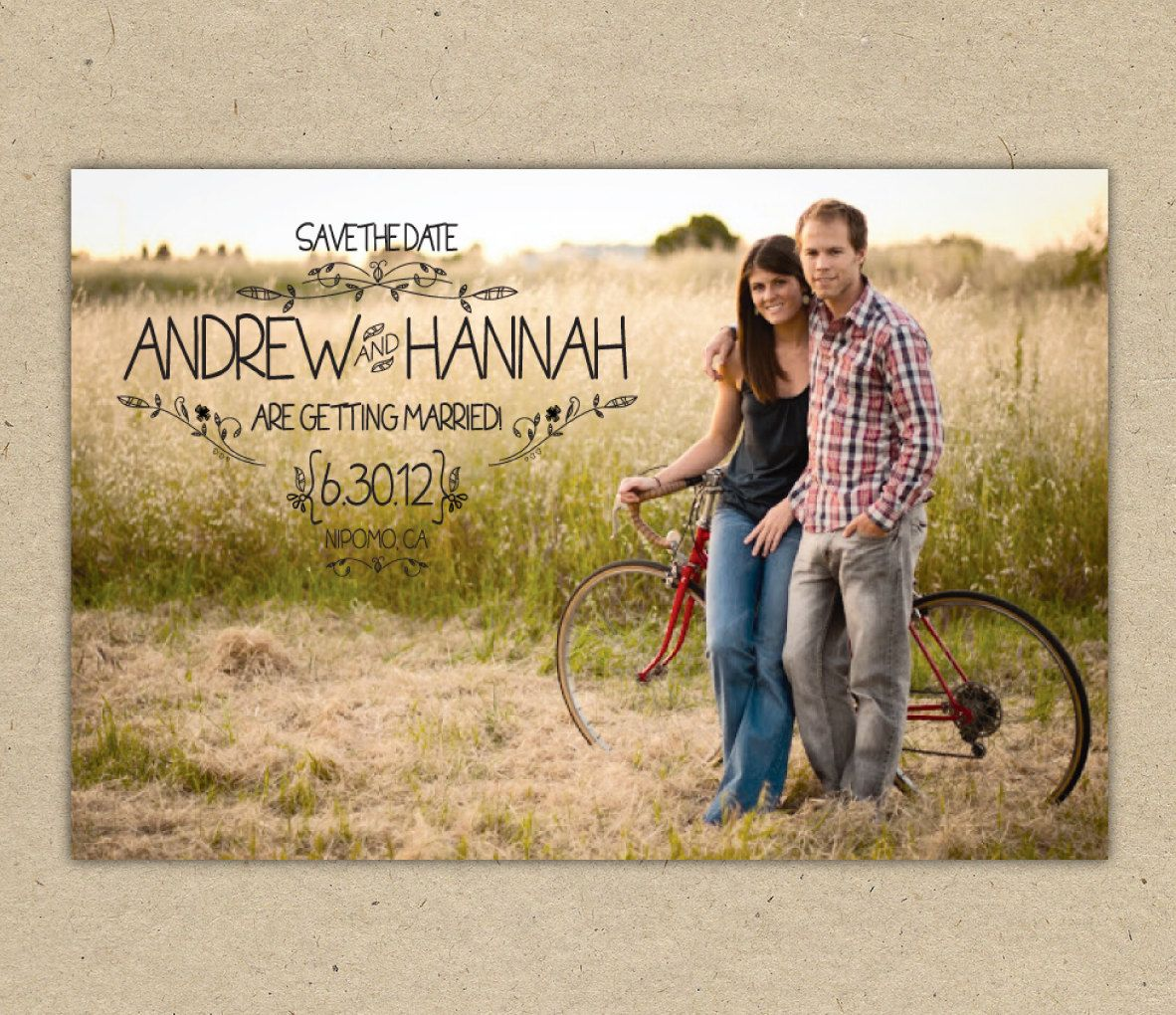 Save The Date Photo Postcard Custom Printable Country Vintage