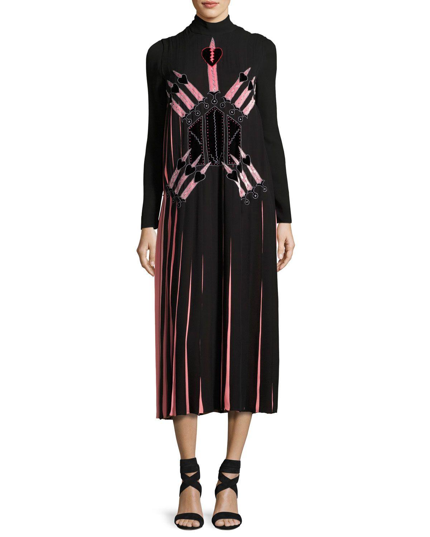 Love blade pleated longsleeve dress blackmulti pleated dresses