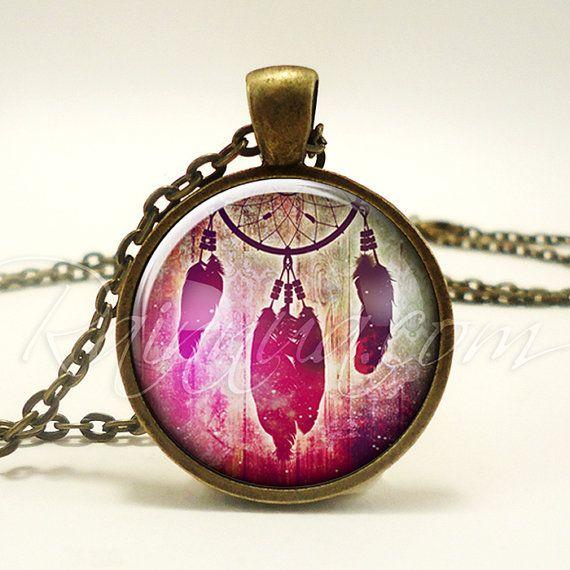 Bohemian Dream Catcher Necklace Gypsy Pendant Boho by rainnua