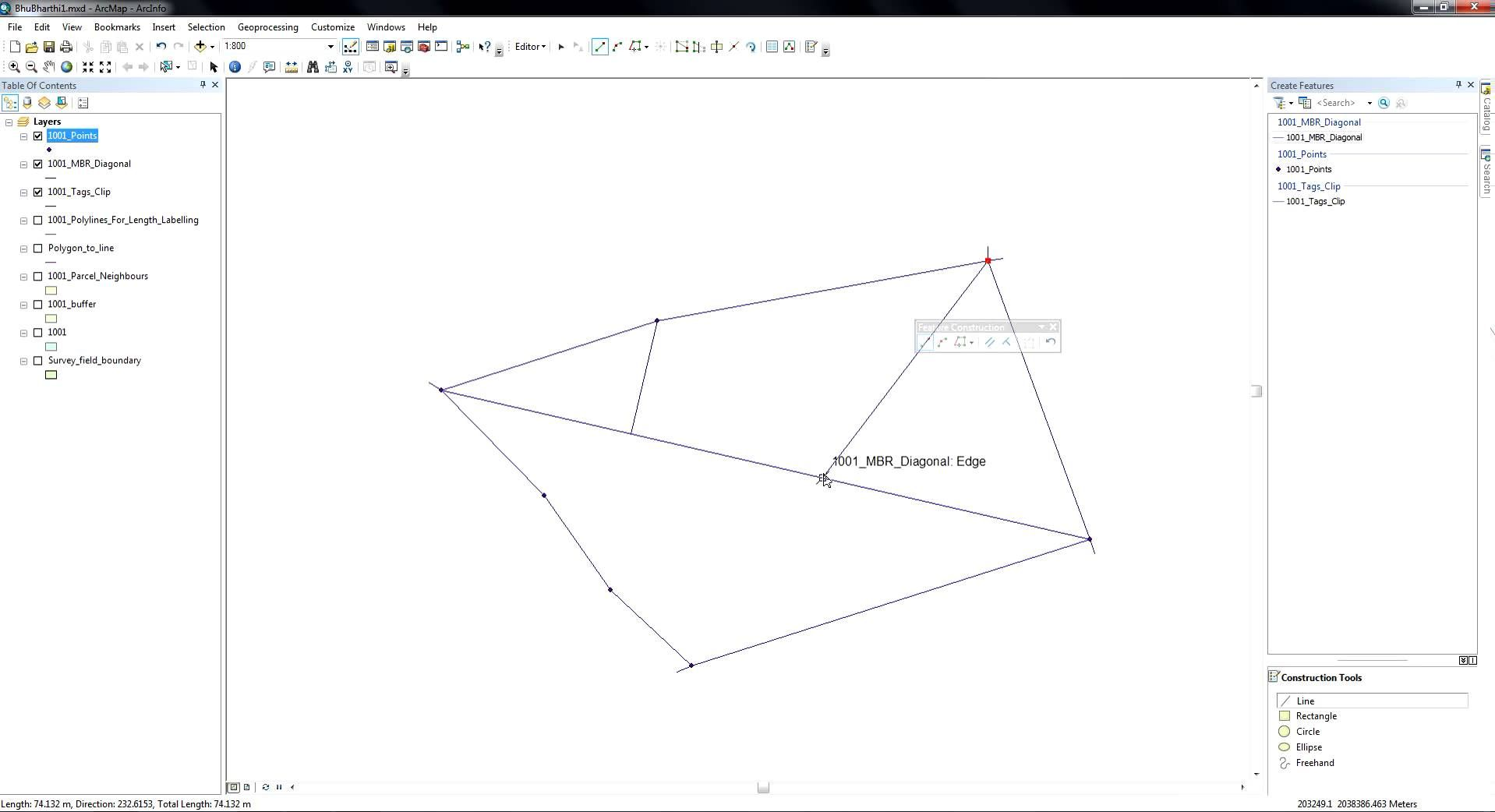 6cb2a243a14 ArcGIS 10.2 Draw perpendicular lines from vertices to the diagonal of a  polygon