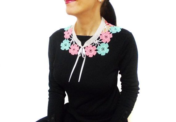 Hand Crocheted Lace Floral Collar Necklace, Pink, Mint Green, Peter Pan Collar