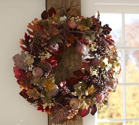 Harvest Pomegranate Amp Pinecone Wreath Amp Garland Pinecone Wreath Harvest Decorations Autumn Decorating