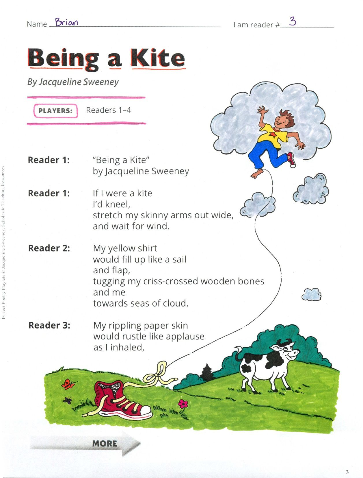 Being A Kite Spring Poetry Playlet Includes A Lesson Plan