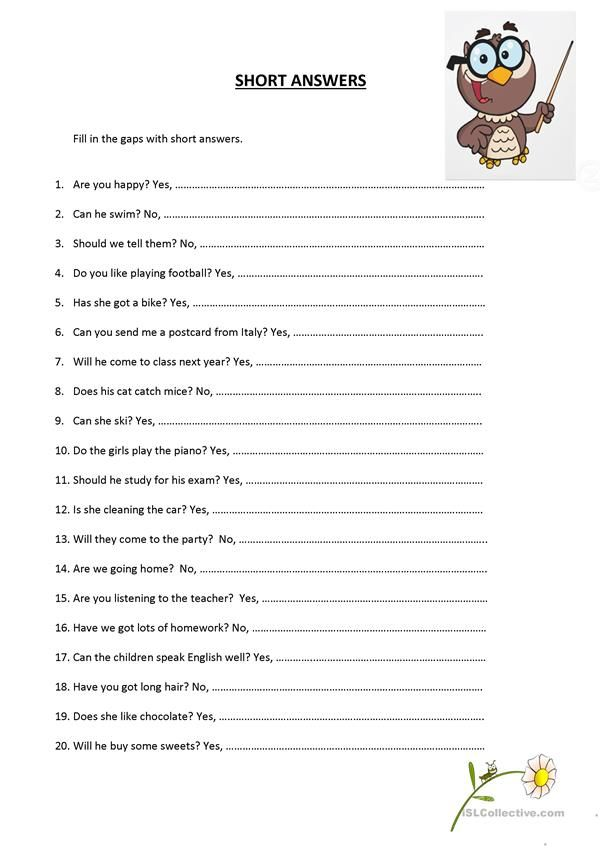 Short Answers | ESL worksheets of the day | Pinterest | Englisch ...