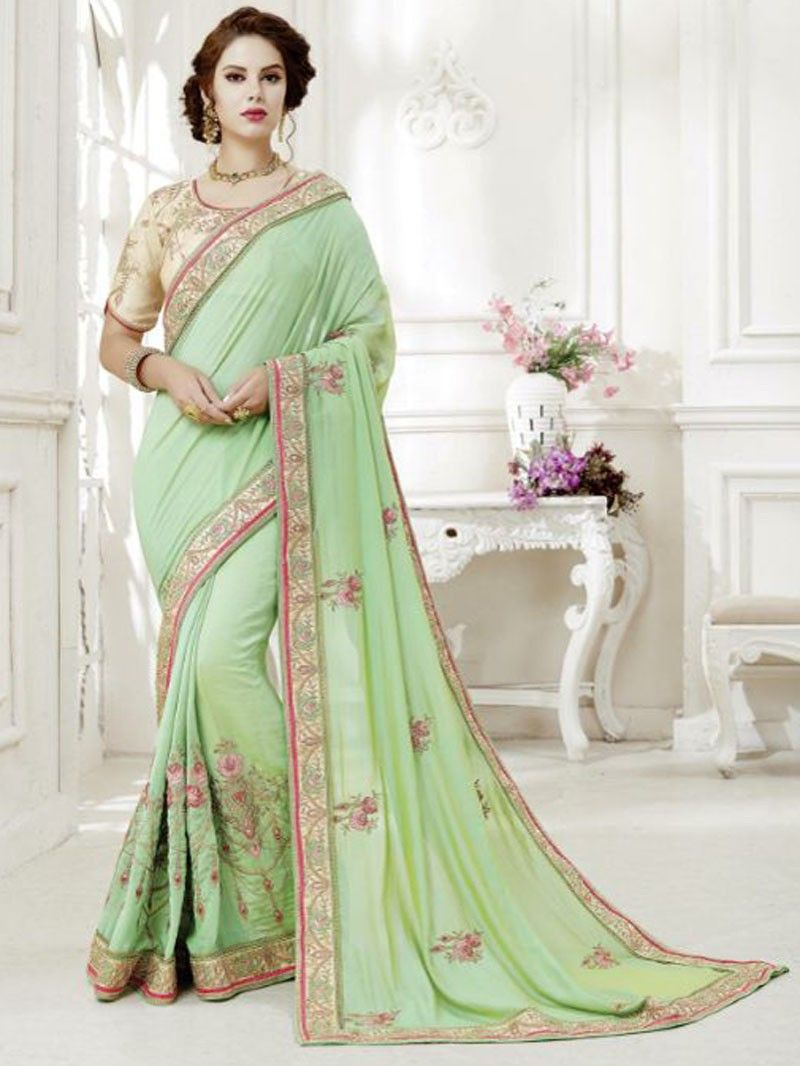 dcdfb08c34701c pista+green+Color+Designer+saree+with+contrast+blouse+Free+Shipping