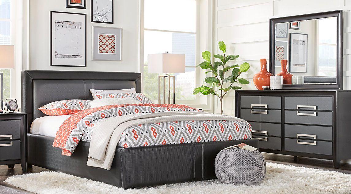 Columbus Avenue Black 5 Pc King Upholstered Bedroom | New home ...