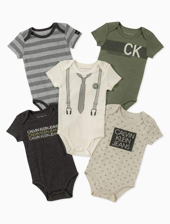 Calvin Klein Baby Boy 5 Pack Assorted Short Sleeve Onesies Calvin Klein Baby Boy Outfits Kids Outfits