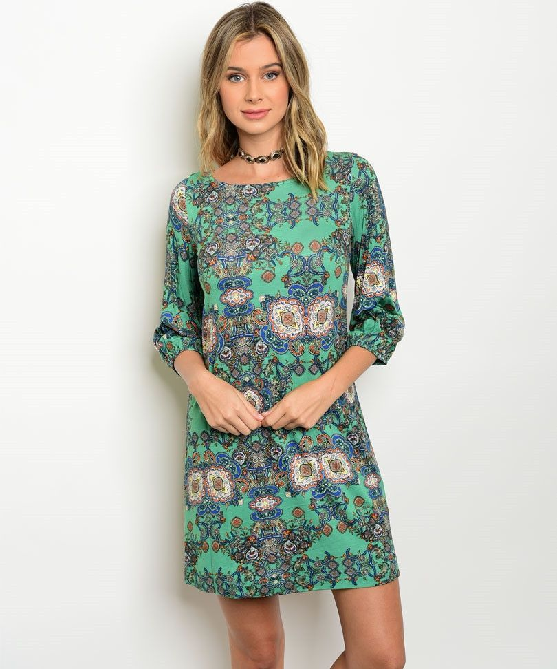 D3143- Green and Orange Floral Dress