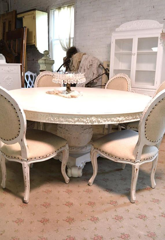 Dining Table Painted Cottage Chic Shabby White French Round Etsy Farmhouse Chairs Dining Table Painted Cottage