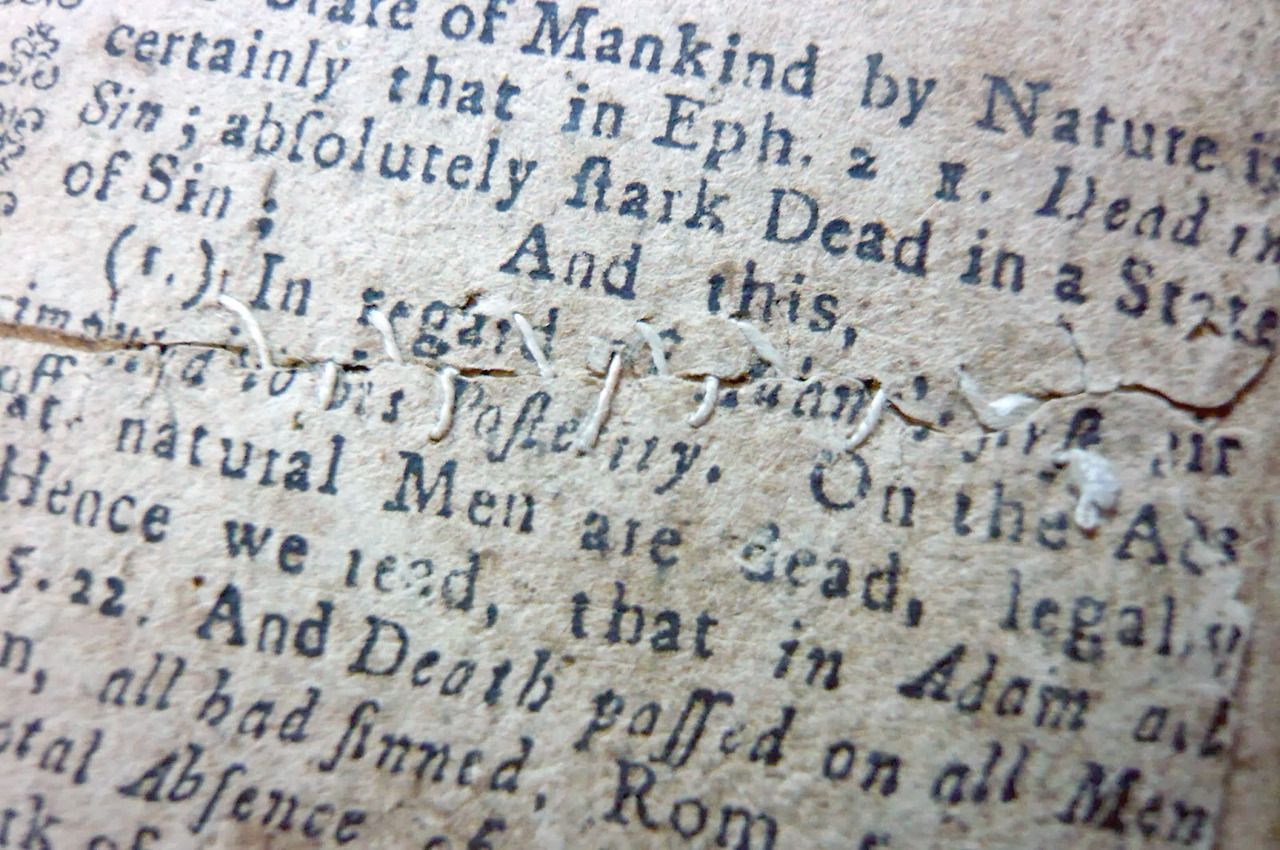 huldrapress: Paper Repair, The Wretched State of Man by the Fall, &c., 1732. via The Gilded Leaf