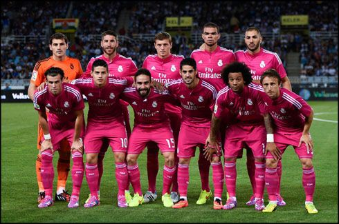 Men In Pink It S A Great Colour Rose Rather Than Pink Very Popular With The Ladies Real Madrid Players Real Madrid Soccer Kits