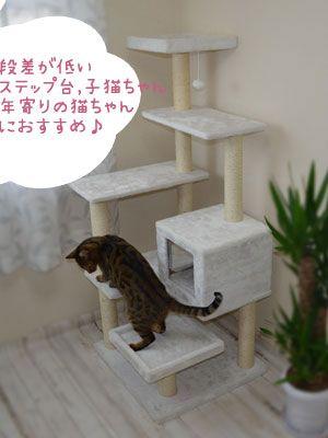 登り降りしやすい段差が低いステップ台 仔猫でも年寄の猫ちゃんおすすめ キャットタワー お昼寝 おすすめ