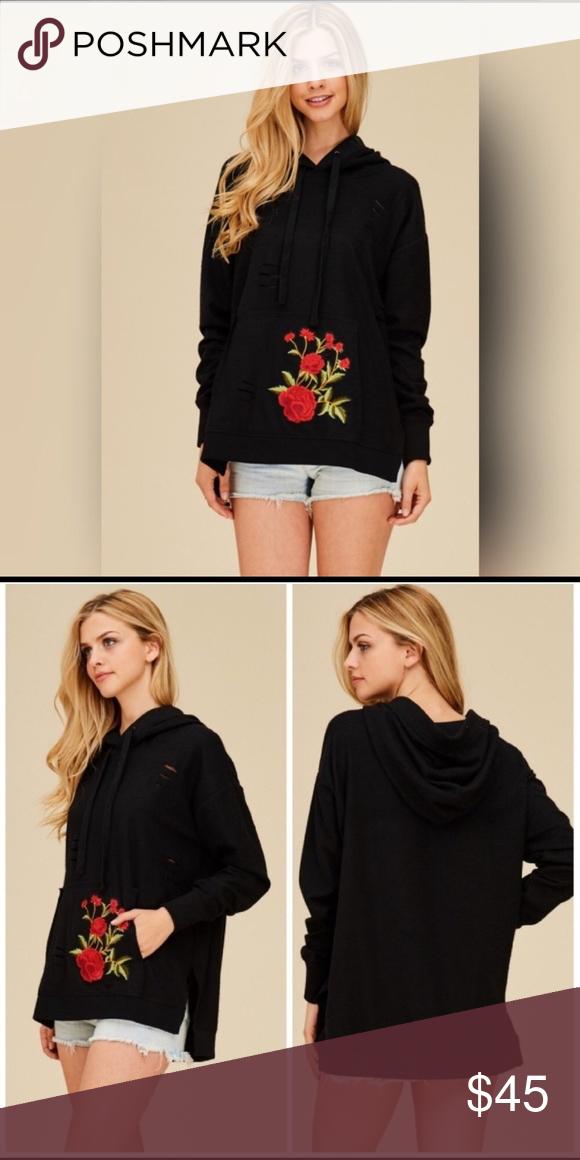 🎉HP🎉 Distressed Floral Hoodie Distressed hoodie with floral embroidery Threadzwear Tops Sweatshirts & Hoodies