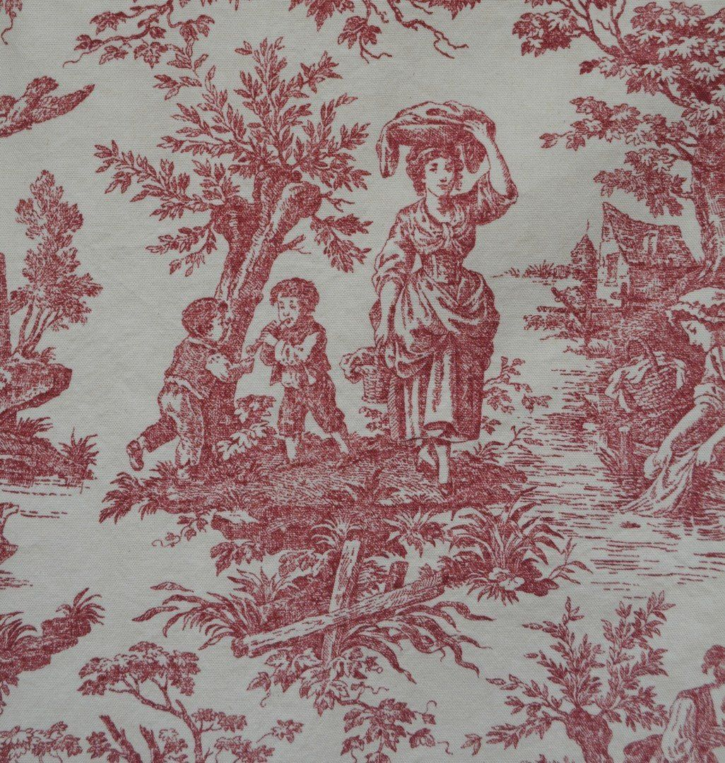 This Vintage Waverly Cotton Canvas Type Upholstery Decorator Fabric Features A Toile Du Jouy Screen Print In A Burgundy Or Red Toile Toile Fabric Fabric Decor